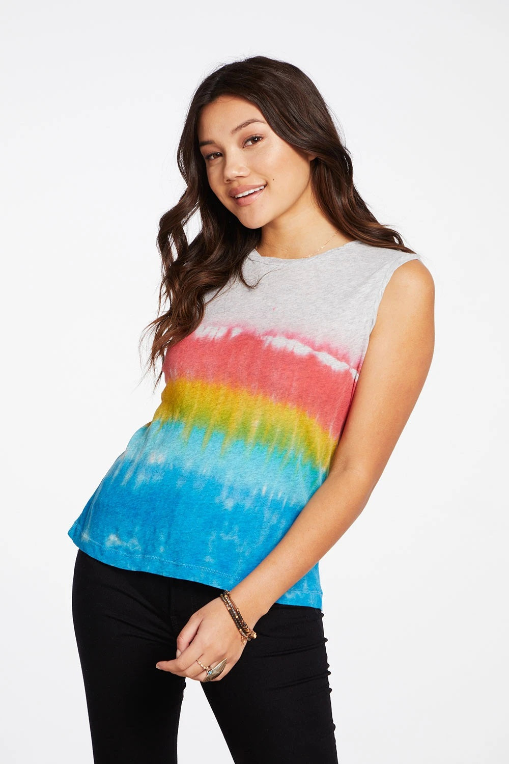 Chaser Gauzy Cotton Muscle Tank - Tie Dye