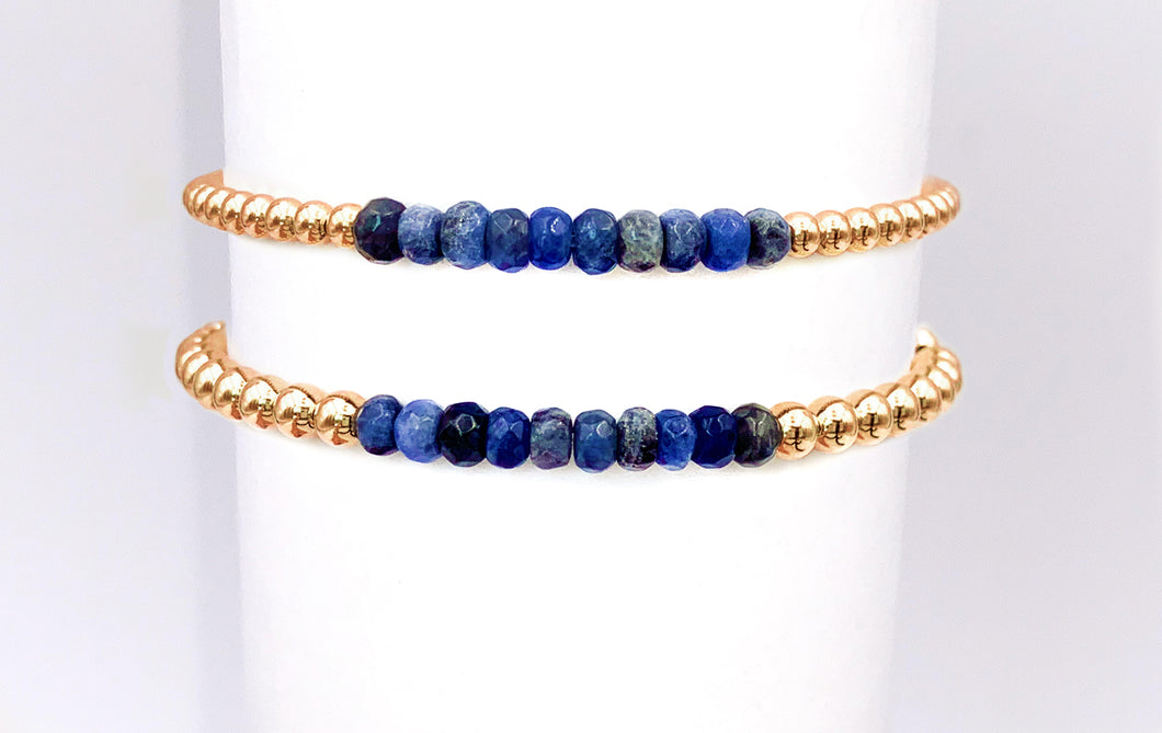Gold Ball Stretchy Bracelet - Sodalite