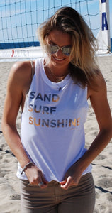 Sand Surf Sun Tank - White, Grey