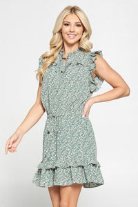 Pinch Multi Ruffle Dress - Mint Floral