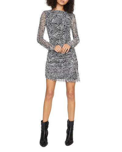 Let's Party Zebra Stripe Long Sleeve Mesh Dress