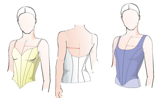 WORKING WITH OPEN NECKLINE, WIDE SET STRAPS