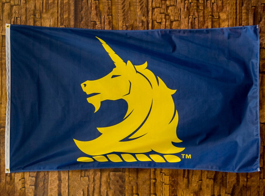 Blue B.A.A. Unicorn Logo Flag
