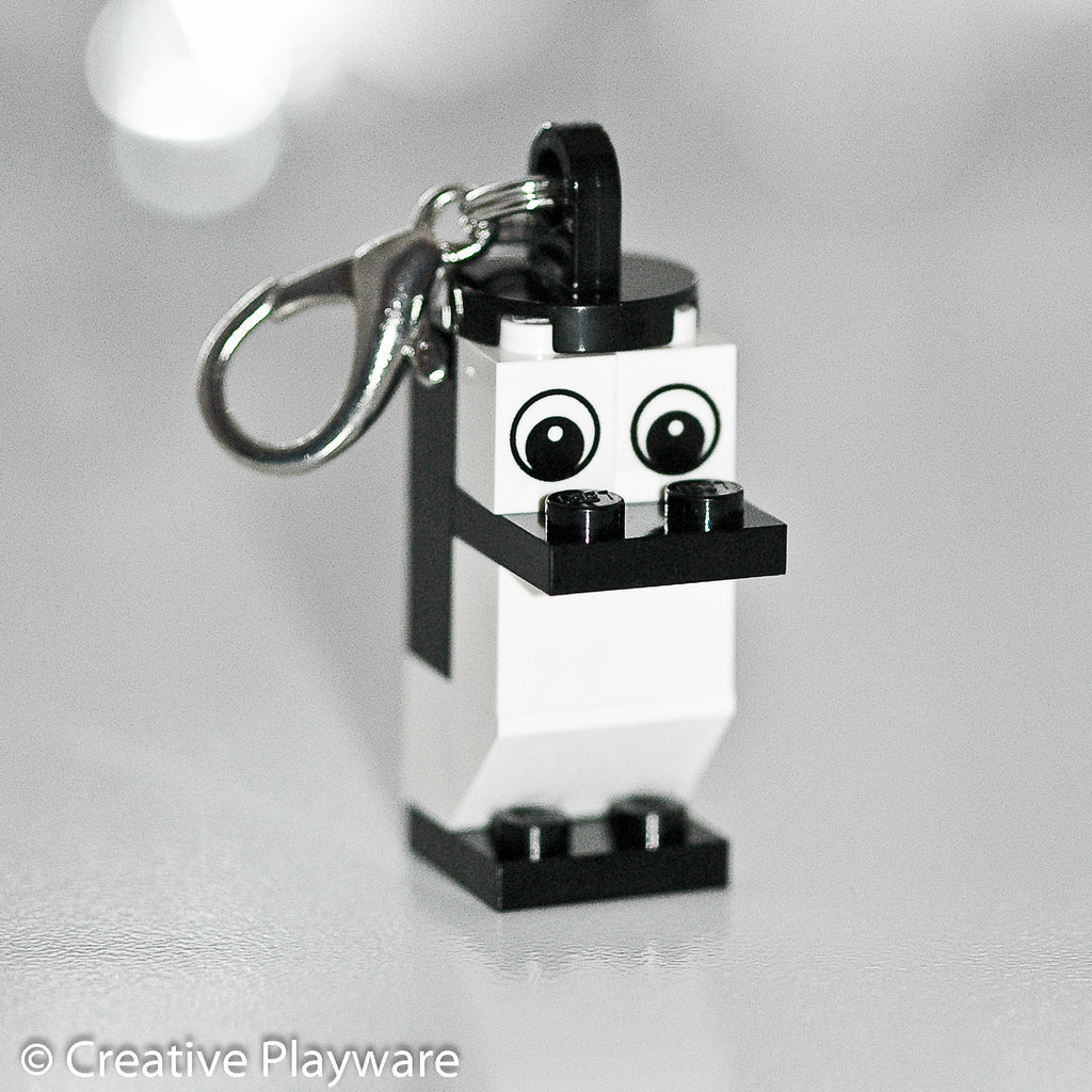 ADELIE PENGUIN bag charm made with LEGO® bricks - wings tucked