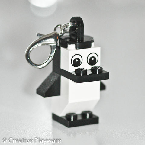 ADELIE PENGUIN bag charm made with LEGO® bricks - wings down