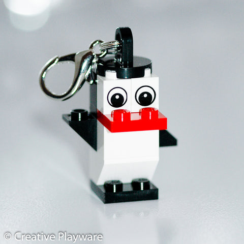 BLACK & RED PENGUIN bag charm made with LEGO® bricks - one wing up, one down