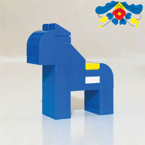 Blue SWEDISH DALAHORSE made with LEGO bricks.