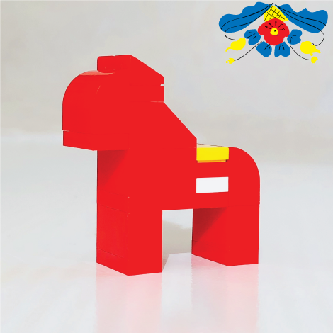 Red SWEDISH DALAHORSE made with LEGO bricks.