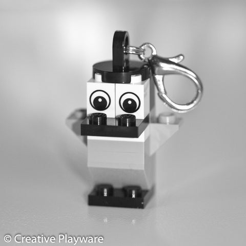 EMPEROR PENGUIN bag charm made with LEGO® bricks - wings up