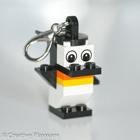 EMPEROR PENGUIN bag charm made with LEGO® bricks - one wing up, one down