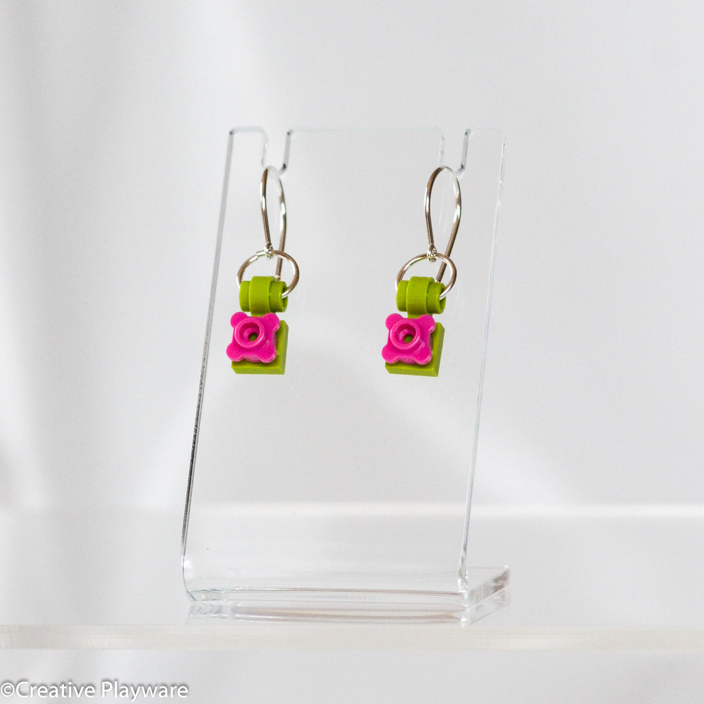 Flower earrings made with LEGO bricks
