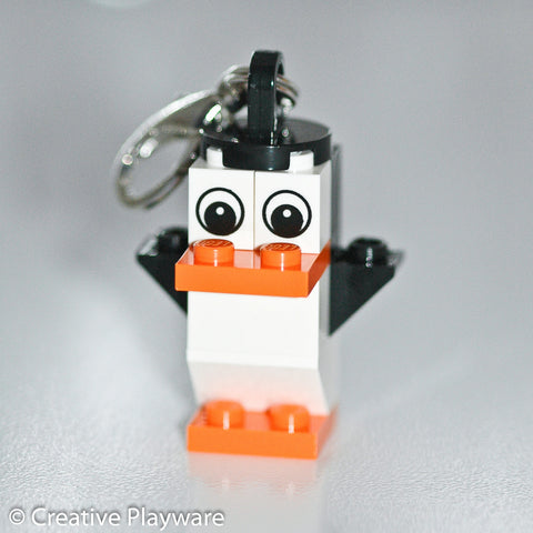 GENTOO PENGUIN bag charm made with LEGO® bricks - wings up