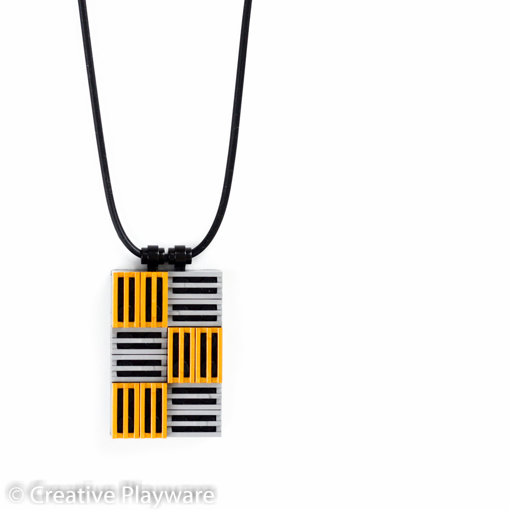 3D rectangular pendant in silver and gold made with LEGO® elements