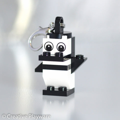 MAGELLANIC PENGUIN bag charm made with LEGO® bricks - one wing up, one down