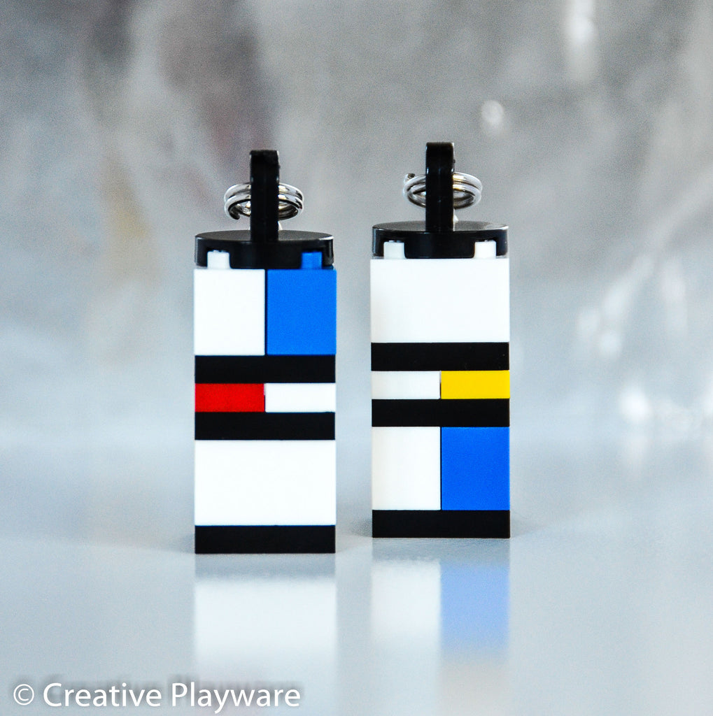 PIET Mondrian-influenced bag charm/ key charm made with LEGO® bricks