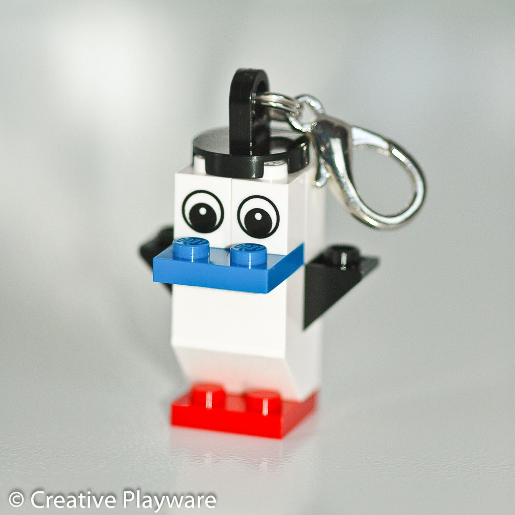 RED-FOOTED BOOBY bag charm made with LEGO® bricks - wings up