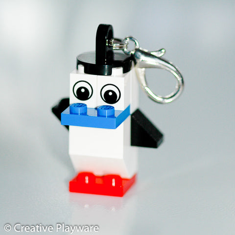 RED-FOOTED BOOBY bag charm made with LEGO® bricks - one wing up, one down