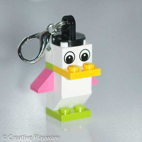 SPRING BIRD bag charm made with LEGO® bricks - wings down