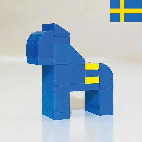 SWEDISH HORSE made with LEGO bricks.