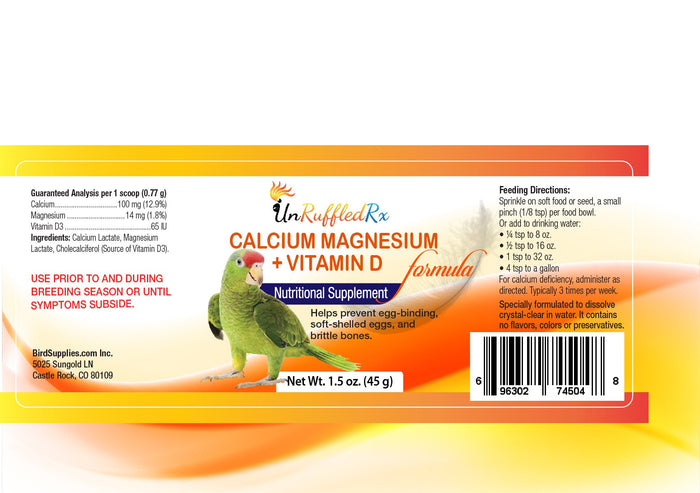 COMING SOON! UnRuffledRx Calcium, Magnesium + D3 for Parrots, 4 oz.