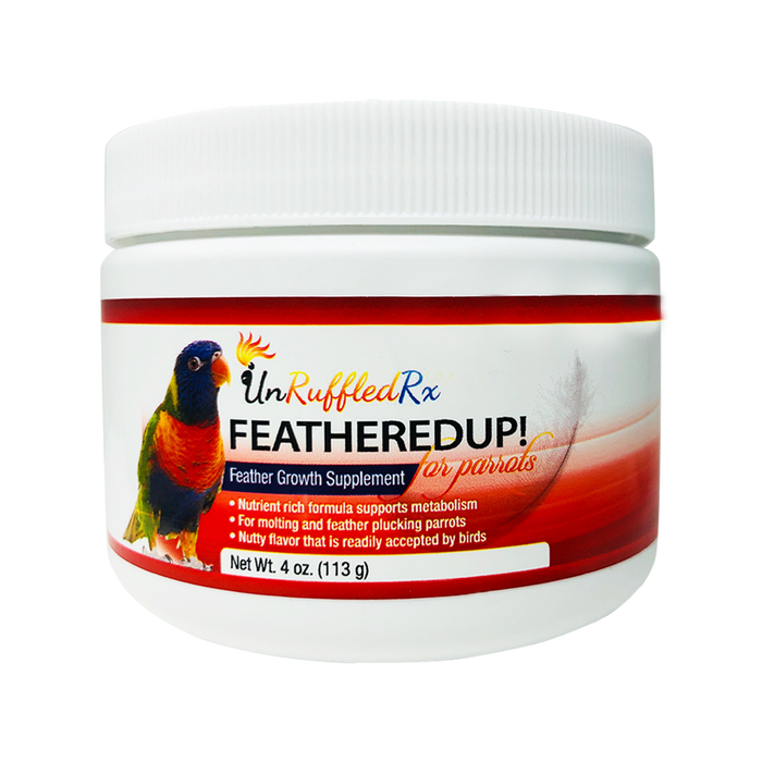 UnRuffledRx FeatheredUp! Feather Growth Supplement for Parrots, 4 oz.