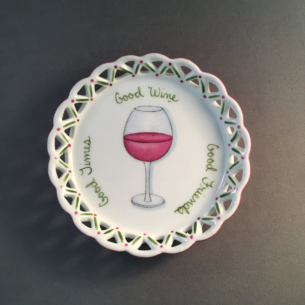 6103-wine coaster- good friends...