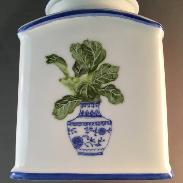 classic tea jar with hand painted Chinese vase and
