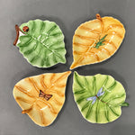 set 4 colorful leaves with little creatures