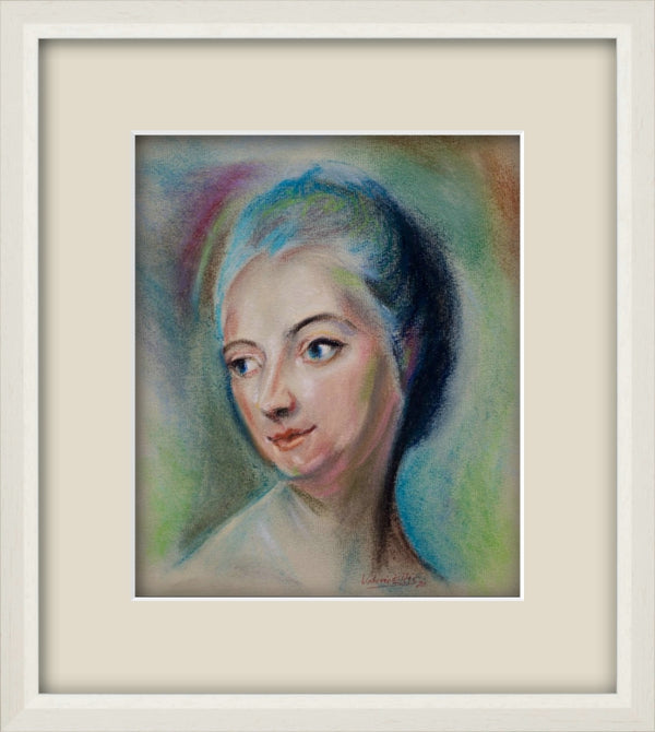 Madame du Pompadour Pastel Portrait Drawing