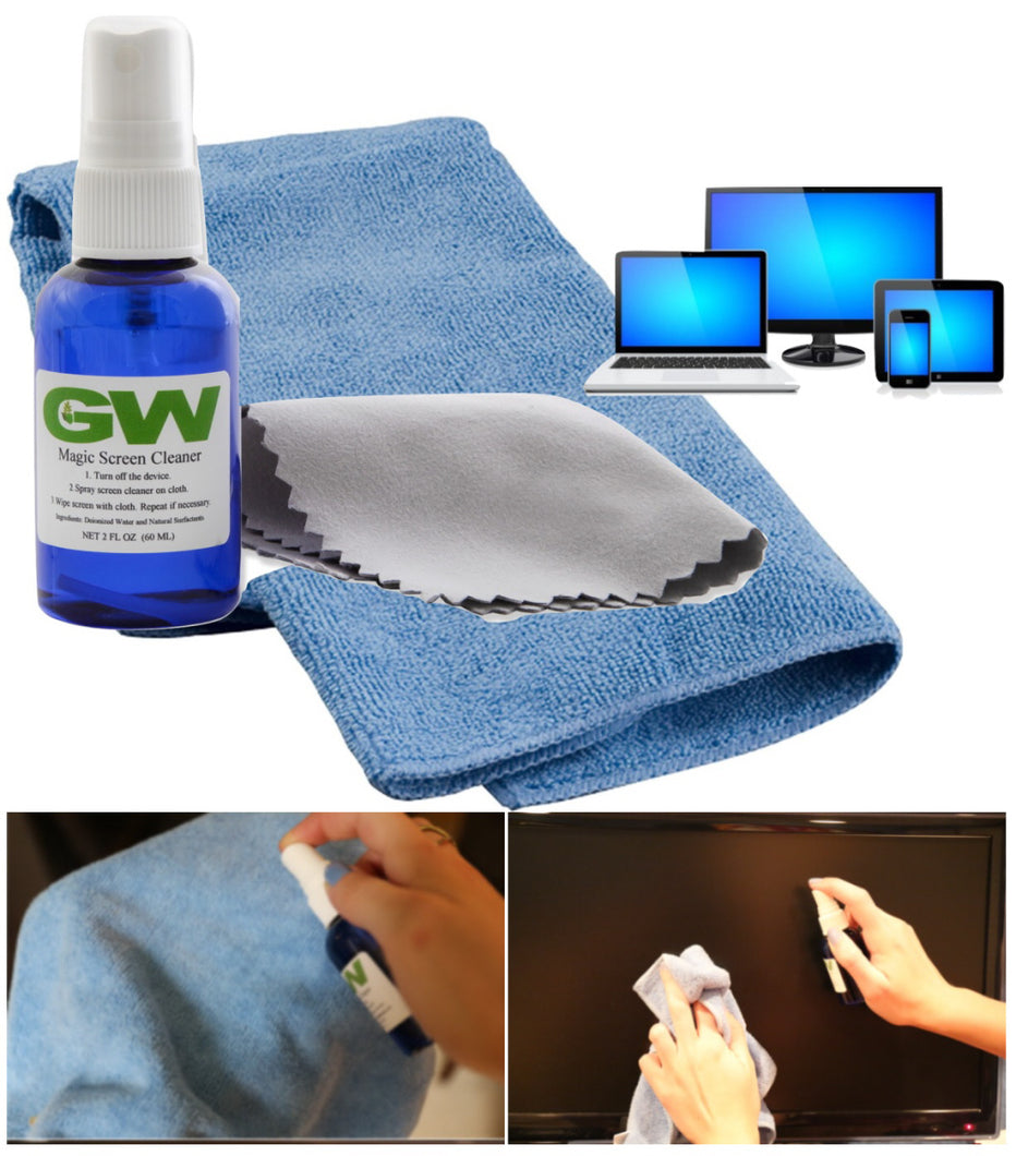 GW MAGIC Screen Cleaner Kit For LED LCD Plasma 4k HDTV TV, Tablets, Laptops, Smartphones, iPhone, iPad with Microfiber Suede Cloth