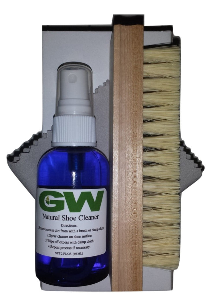 GW Premium Deluxe Shoe Cleaner Kit for Shoes, Boots, and Sneakers with Handcrafted Wooden Brush and Microfiber Cloth