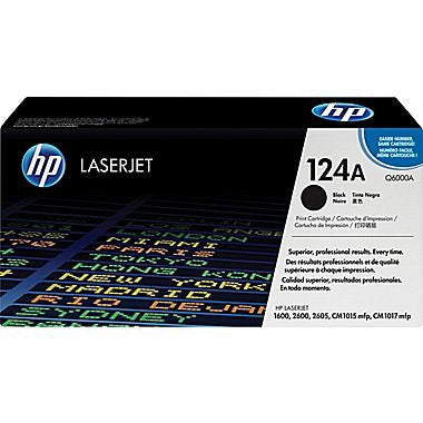 HP 124A (Q6000A) Black Original LaserJet Toner Cartridge (2500 Yield)