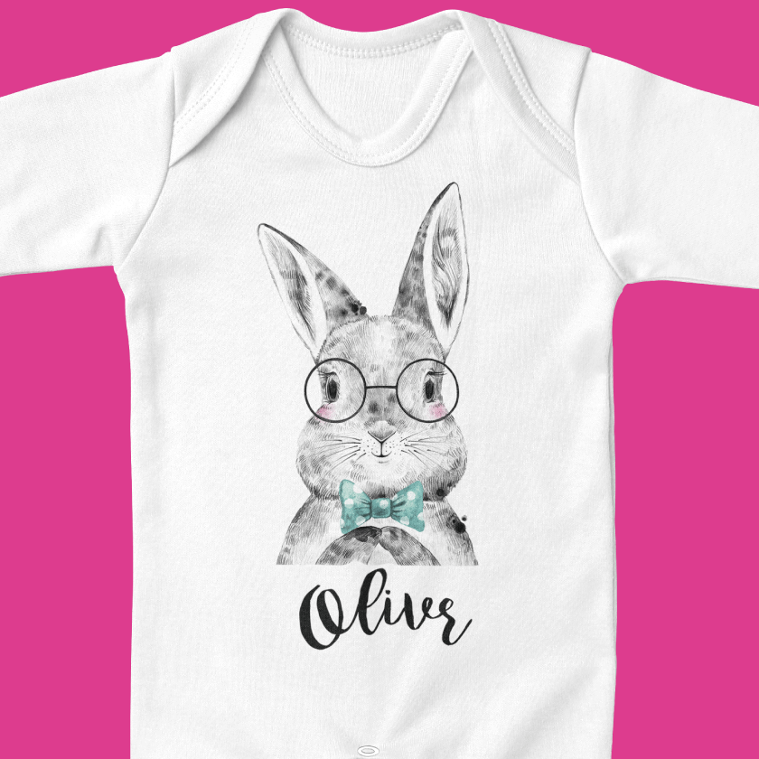 Personalised bunny baby grow by Ruby and the Rainbow, Personalised clothes for babies and toddlers. The perfect unique baby gift.