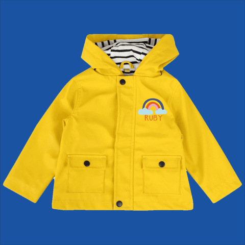 Personalised Baby Raincoat in Yellow by Ruby and the Rainbow
