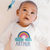 Personalised Baby Clothes by Ruby and the Rainbow. Baby Arthur is wearing a Personalised Rainbow Baby Grow by Ruby and the Rainbow. Personalised Rainbow Baby Gifts