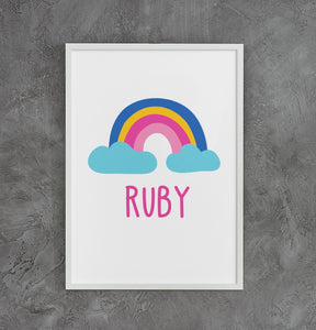 Personalised Rainbow Nursery Poster - Printable - Ruby and the Rainbow