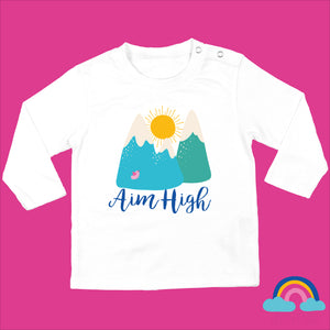 Organic Long Sleeved Baby T-Shirt White- Aim High Design - Ruby and the Rainbow