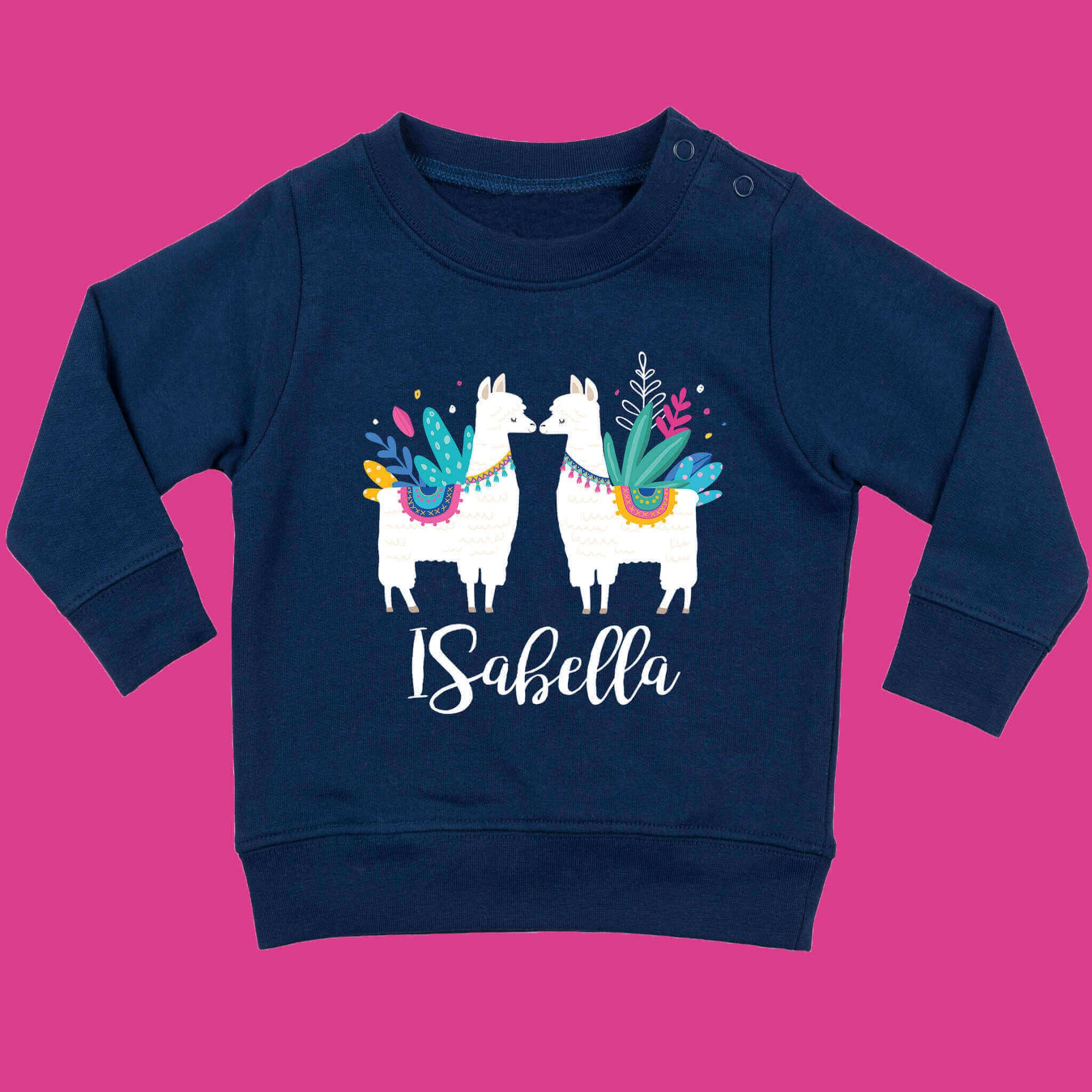 Baby Llama Jumper, Personalised toddler llama jumper. By Ruby and the Rainbow personalised clothing for babies and toddlers. Personalised gifts for babies and toddlers.