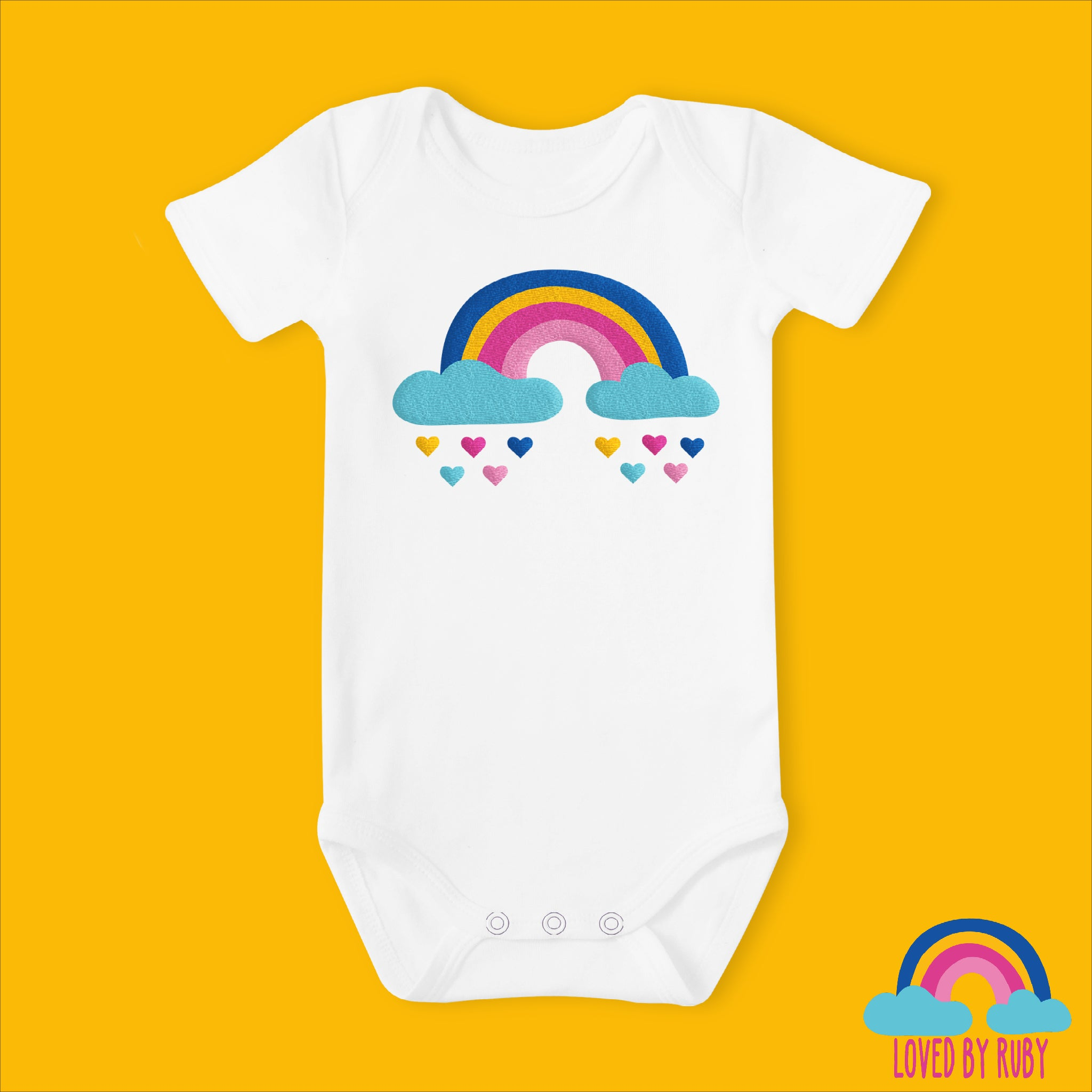 Rainbow Baby Vest in White with Rainbow Hearts Design - Ruby and the Rainbow