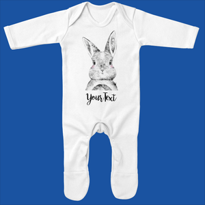 Organic Baby Grow with Bunny Design - Ruby and the Rainbow