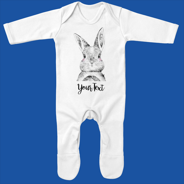 Personalised Organic Baby Grow with Bunny Design - Ruby and the Rainbow