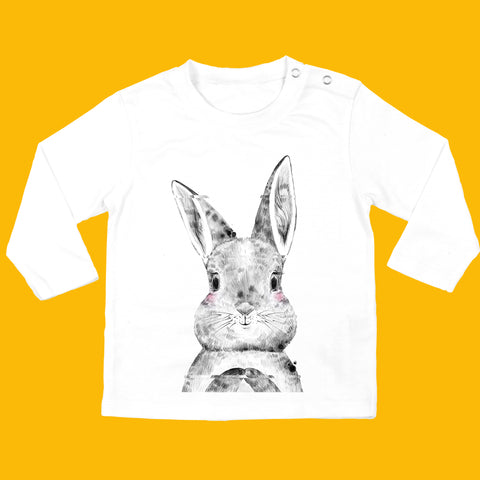 Organic Long Sleeved Baby T-shirt in White - Bunny Design - Ruby and the Rainbow