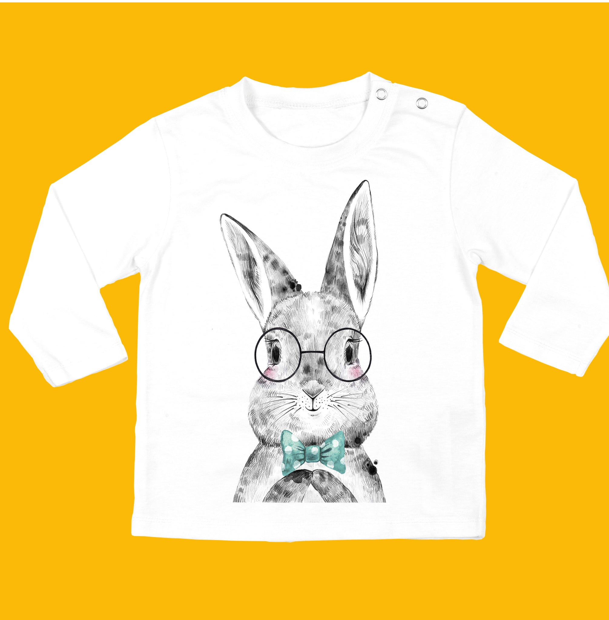 Baby boys bunny t-shirt, made from organic cotton - Bunny with Bowtie Design - Ruby and the Rainbow