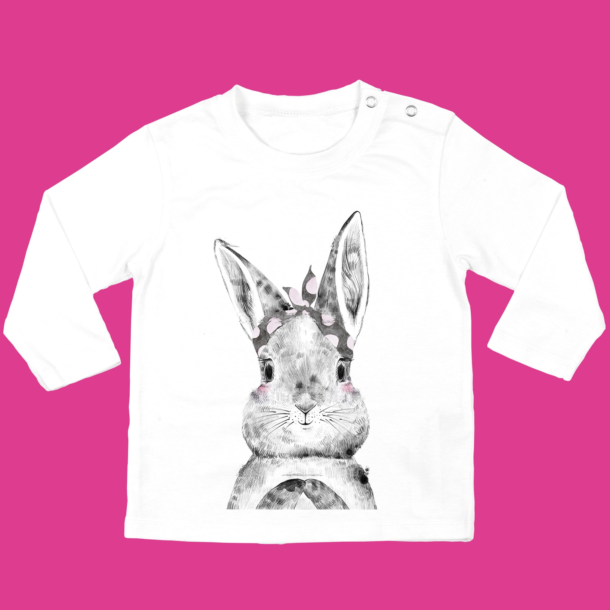 Girls Baby Bunny T-Shirt organic cotton in White - Bunny with Bow Design - Ruby and the Rainbow