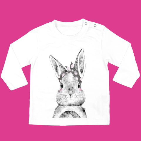 Girls Baby Bunny T-Shirt organic cotton in White - Bunny with Bow Design