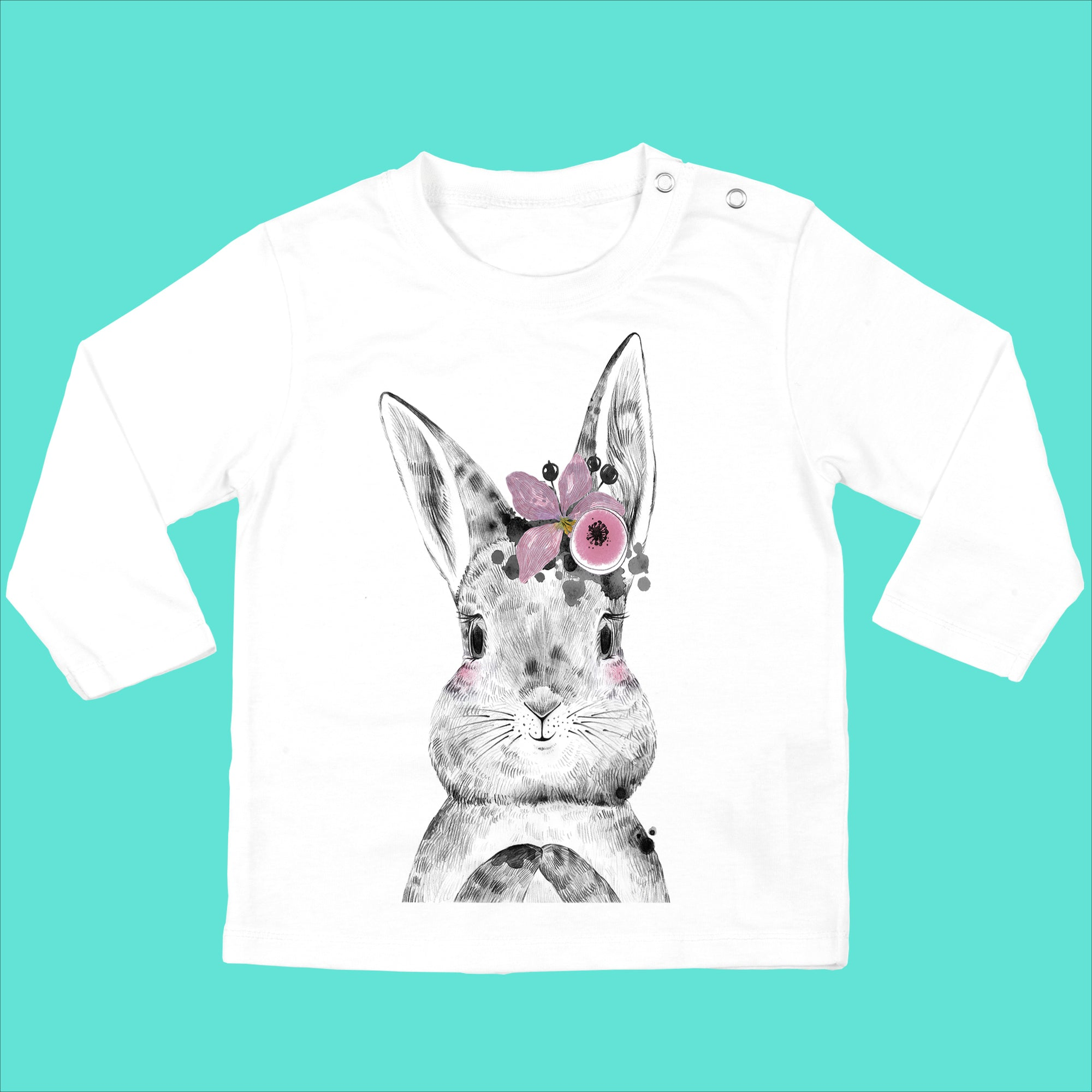 Personalised Baby Girls Bunny Top - Bunny with Flower - Ruby and the Rainbow