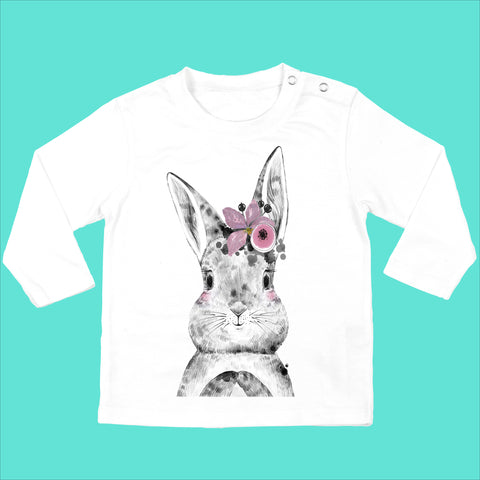 Personalised Baby Girls Bunny Top - Bunny with Flower