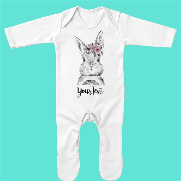 Organic Baby Grow with Bunny Flower Design - Ruby and the Rainbow