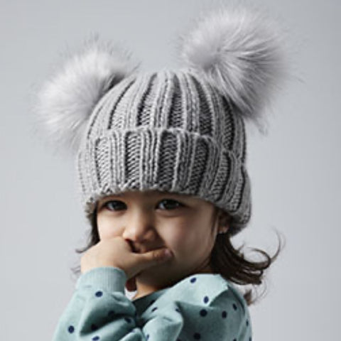Grey Personalised Baby Faux Fur Double Pom Pom Beanie - Ruby and the Rainbow
