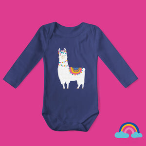 Flower Llama Organic Long Sleeved Baby Bodysuit - Navy Blue - Ruby and the Rainbow